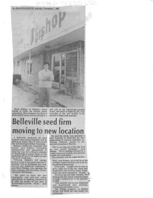 Belleville seed firm moving to new location: Bishop Seeds Ltd.