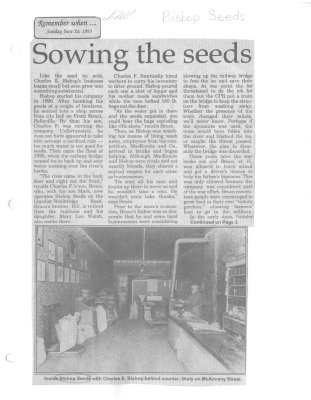 Remember when: Sowing the seeds: Bishop Seed Ltd.