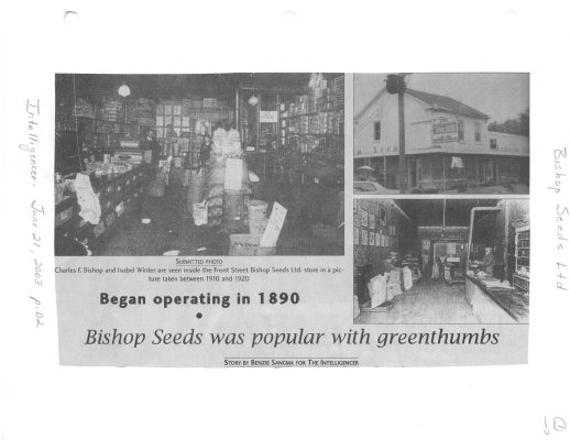 Bishop Seeds was popular with greenthumbs: began operating in 1890