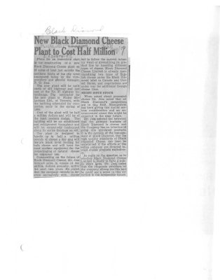 New Black Diamond Cheese Plant to cost half million