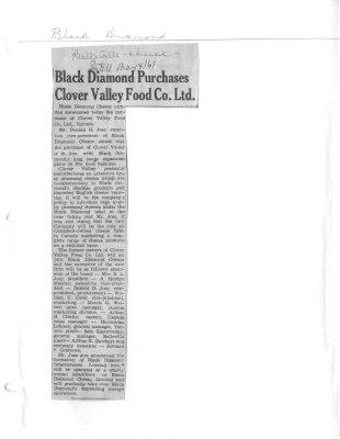 Black Diamond Purchases Clover Valley Food Co. Ltd.