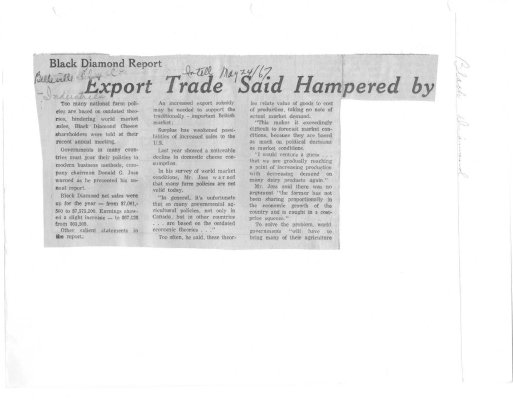 Black Diamond report: Export Trade said hambered by outdated farm policies