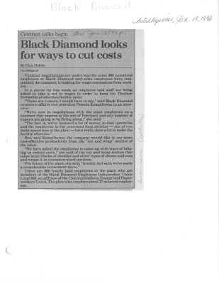 Black Diamond looks for ways to cut costs