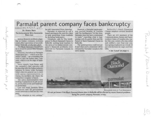 Parmalat parent company faces bankruptcy - Black Diamond Cheese