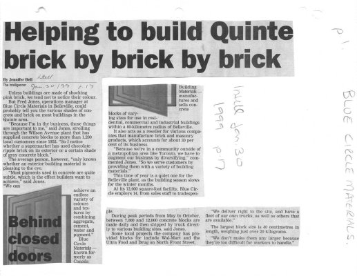 Helping to build Quinte brick by brick by brick: Blue Circle Materials