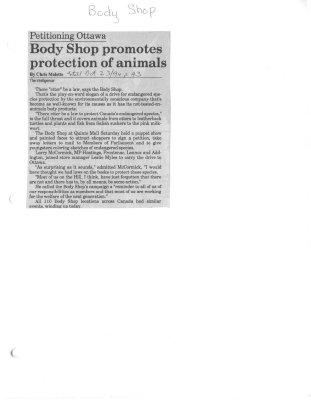 Petitioning Ottawa: Body Shop promotes protection of animals