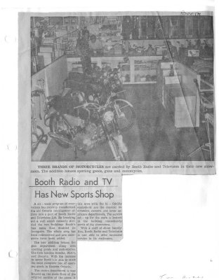 Booth Radio and TV has new sports shop