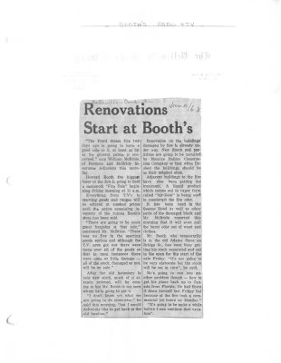 Renovations start at Booth's: Booth's Radio and Television