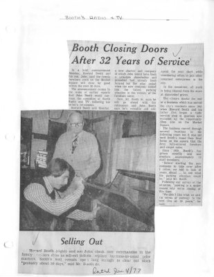 Booth closing doors after 32 years of service: Booth's Radio & TV