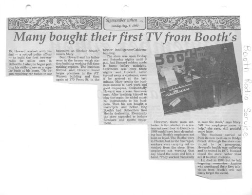 Remember When: Many bought their first TV from Booth's: Booth's Radio and TV