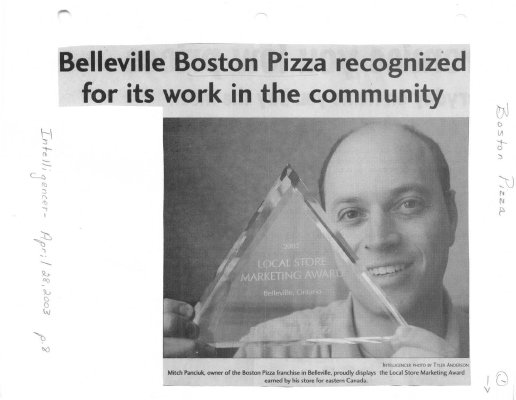 Belleville Boston Pizza recognized for its work in the community