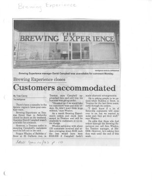 the Brewing Experience closes: Customers accommodated