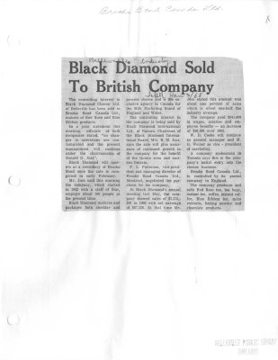 Black Diamond sold to British Company: Brooke Bond Canada Ltd.