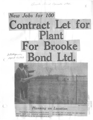 New jobs for 100: Contract let for plant for Brooke Bond Ltd.