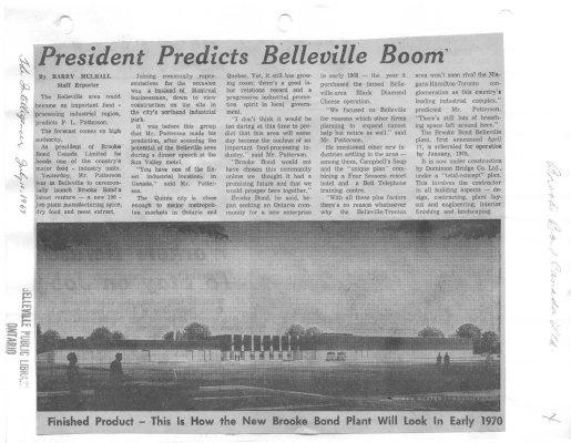 President predicts Belleville boom: Brooke Bond Canada Ltd.