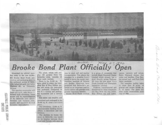 Brooke Bond Plant officially open