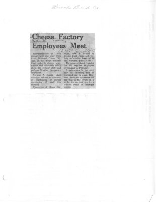 Cheese Factory employees meet: Brooke Bond Canada Ltd
