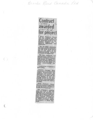 Contract awarded for project: Brooke Bond Canada Ltd