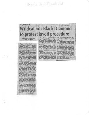 13 jobs lost: Wildcat hits Black Diamond to protest layoff procedure: Brooke Bond Canada Ltd