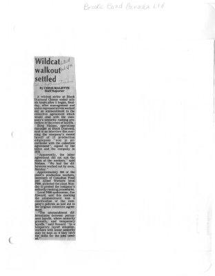 Wildcat walkout settled: Brooke Bond Canada Ltd