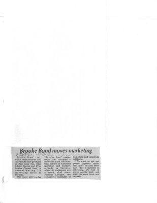 Brooke Bond moves marketing: Brooke Bond Canada Ltd.