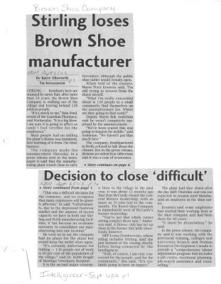 Stirling loses Brown Shoe manufacturer: Brown Shoe Company