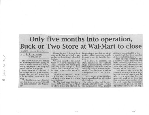 Only five months into operation Buck or Two Store at Walmart to close