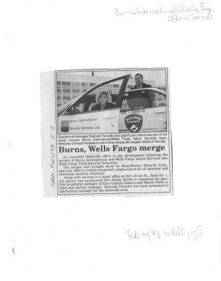 Burns, Wells Fargo merge (Burns International, Wells Fargo Alarm Services)