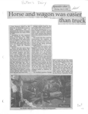 Remember when: (Butler's Dairy) Horse and wagon was easier than truck