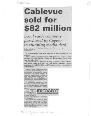 Cablevue sold for $82 million
