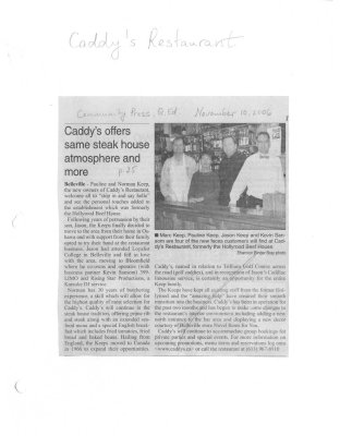 Caddy's offers same steak house atmosphere and more