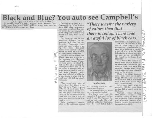 Remember when: Campbell's Auto Shop:  Black and Blue? You auto see Campbell's.