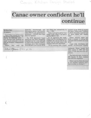 Canac owner confident he'll continue: Canac Kitchen Design Studios