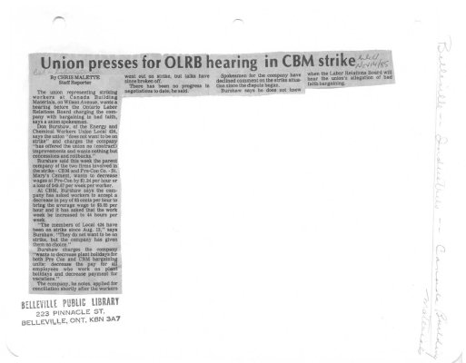 Union presses for OLRB hearing in CBM strike