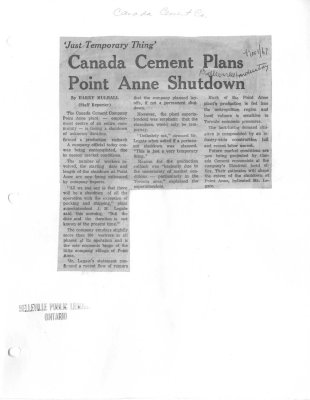 Just temporary thing: Canada Cement (Company) plans Point Anne shutdown