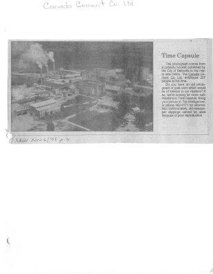Time capsule: Canada Cement Company