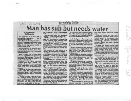Man has sub but needs water: Canada Sportsub Ltd.