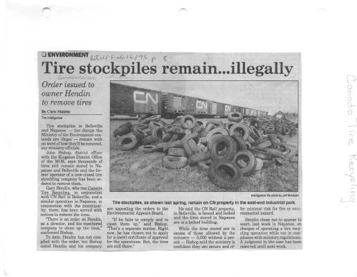 Tire stockpiles remain...illegally: Canada Tire Recycling