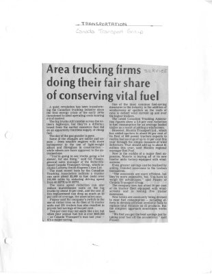 Area trucking firms doing their fair share of conserving vital fuel: Canada Transport Group