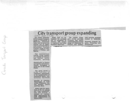 City transport group expanding: Canada Transport Group