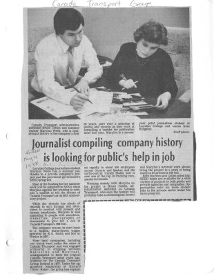 Journalist compiling company history is looking for public's help in job: Canada Transport Group