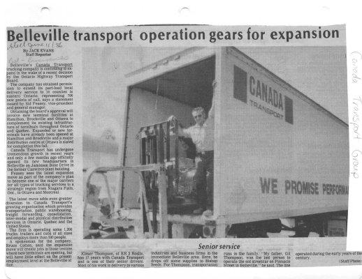 Belleville transport operation gears for expansion: Canada Transport Group