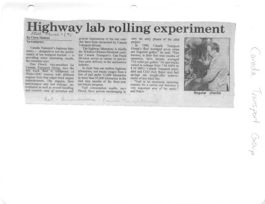 Highway lab rolling experiment: Canada Transport Group