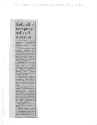 Belleville company sells off division: Canada Transport International Ltd.