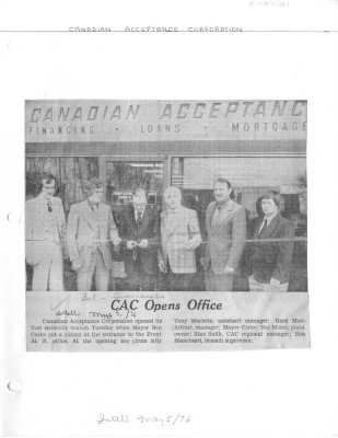 CAC Opens Office: Canadian Acceptance Corporation