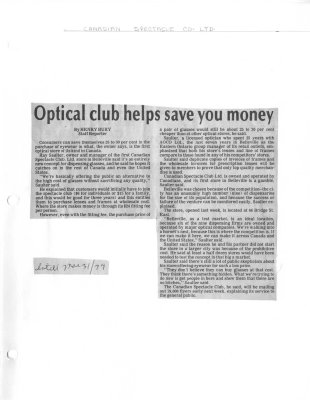 Optical Club helps save you money: Canadian Spectacle Club Ltd.