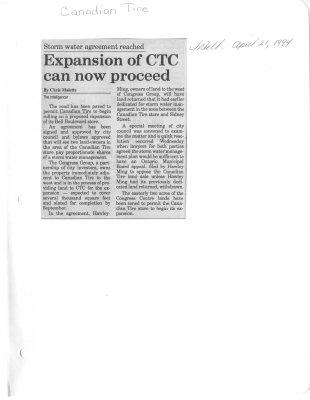 Expansion of CTC can now procede: Canadian Tire