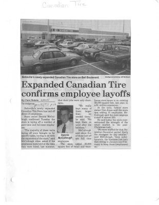 Expanded Canadian Tire confirms employee layoffs