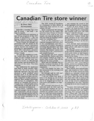 Canadian Tire store winner