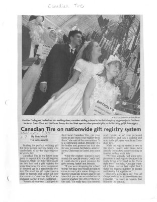 Canadian Tire on nationwide gift registry system
